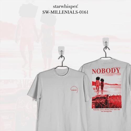 Foto Produk STARWHISPER MILLENIALS T-Shirt - Nobody Cares! - Putih, S dari STAR WHISPER