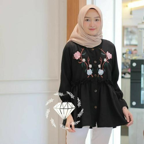 Foto Produk ZEA BLOUSE ATASAN BORDIR MOTIF BUNGA BAJU WANITA MUSLIMAH - Hitam dari Baju Cewek Jakarta