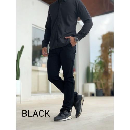Foto Produk Celana Chino Pria / Celana Panjang Melar Murah Black - S dari D'WINKEL