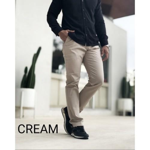Foto Produk Celana Chino Pria | Celana Panjang Pria STRECHT PREMIUM WARNA CREAM - S dari D'WINKEL
