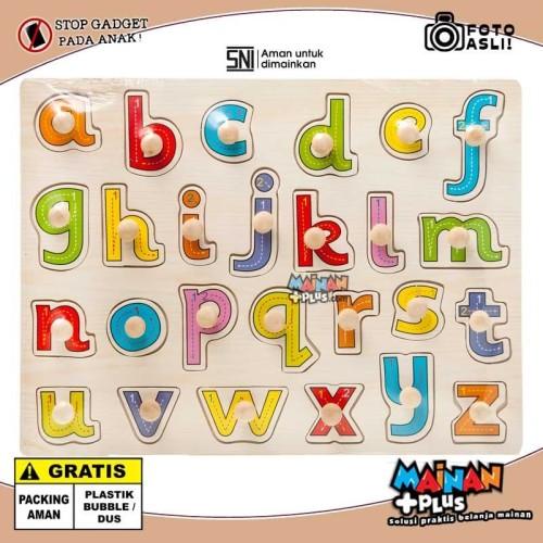 Foto Produk Mainan Edukasi Edukatif Puzzle Tombol Kayu Abjad - Huruf Kecil dari MainanPlus