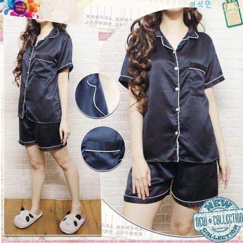 Foto Produk PP Baju Tidur Piyama Pajamas SATIN Sleepwear Baju Pendek Celana Pendek - Hitam dari RisRus Apparel