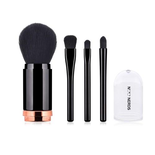 Foto Produk NOO NERDS Simple Travel Set 4in1 Black Brush - Kuas makeup travelling dari twindshop
