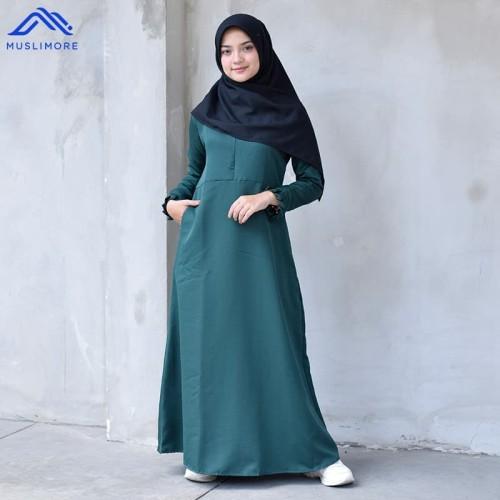 Foto Produk Muslimore Baju Muslim Gamis Murah Hijau Botol Polos Balotelli XNB-10 - M dari muslimore