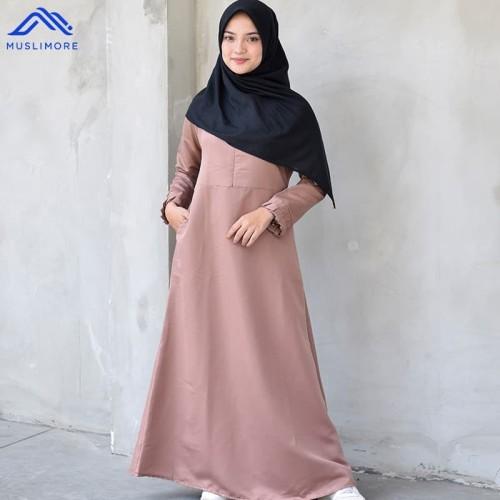Foto Produk Muslimore Baju Muslim Wanita Gamis Murah Khaki Polos Balotelli XNB-11 - XL dari muslimore