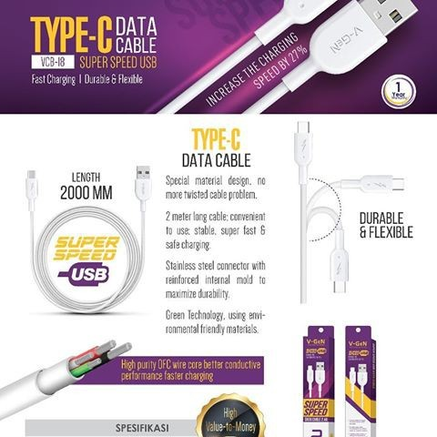 Foto Produk Kabel Data USB Type C V-GeN VCB-18 Fast Charging Kabel VGEN 2 Meter dari Clarias Shop