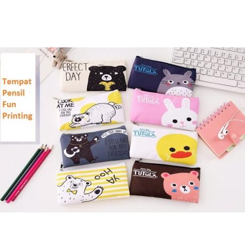 Foto Produk TP0056 Tempat Pensil Fun Printing 8 Design Pencil Case - tp tutula brown dari EnnWen Online Store