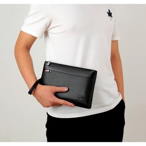 Foto Produk W12 Business Clutch Model Roma Tas tangan Handbag Dompet Pria - Hitam dari EnnWen Online Store