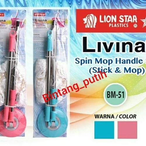 Foto Produk LION STAR Tongkat alat pel lantai / LIVINA SPIN MOP HANDLE SET dari Bintang_Putih