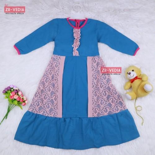 Foto Produk Gamis Hilya Anak 5-6 Tahun / Baju Ngaji Perempuan Dress Brokat Cewek - Random dari ZR-Vedia