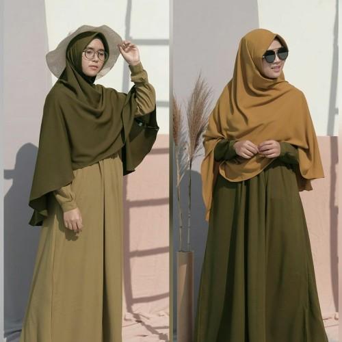 Foto Produk Hijab Alila - Gamis Ayumi - Dark Olive, Honey Wood dari Alfatih Goods