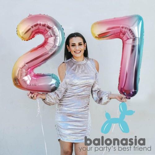 Foto Produk Balon Foil Angka Rainbow Jumbo 80cm - 0 dari Balonasia