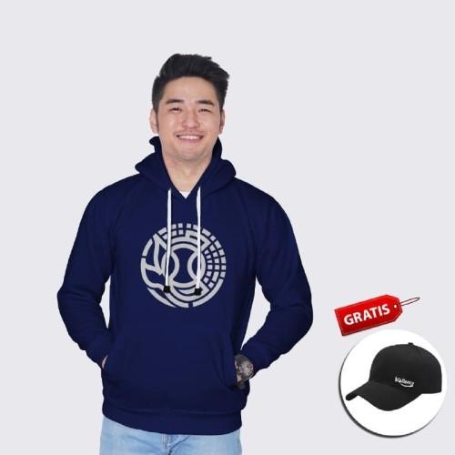 Foto Produk Vallenca Jaket Hoodie Pria Biru Logo Bulat Gratis Topi Exlusive - S dari VALLENCA OFFICIAL