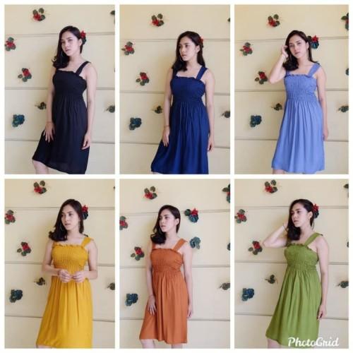 Foto Produk Dress Kerut Pendek Tasya Bali - Baju Hamil - Baju Tidur Wanita - Navy dari Brantandari Shop