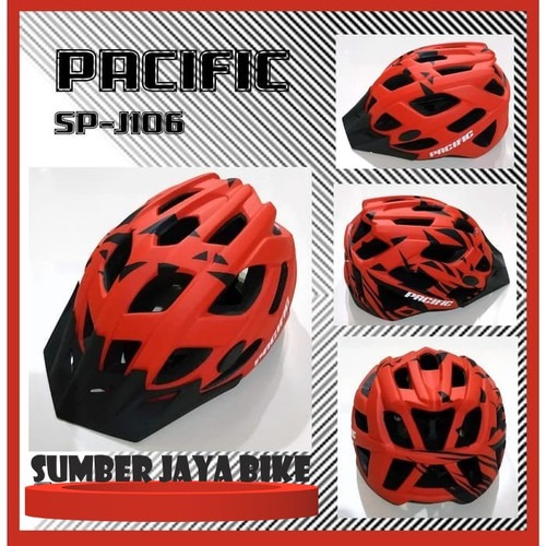 Foto Produk Helm Sepeda PACIFIC SP-J106 Motif Stripes Ada LED - Merah dari sumber jaya bike