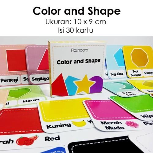 Foto Produk Flashcard color and shape / kartu pintar mengenal warna dan bentuk dari Little Mochi