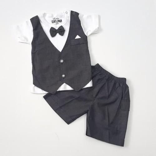 Foto Produk Baju anak Bayi laki 0 1 2 3 4 5 6 bulan Setelan Jas Tuxedo Pesta hitam dari railen kids clothes shop