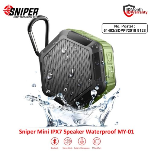 Foto Produk Sniper Mini Bluetooth Waterproof Speaker MY-01 - Green dari Sniper Indonesia