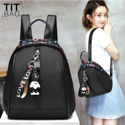 Foto Produk WB 279 Ransel Wanita Impor Tas Punggung Wanita Backpack Nylon Import L - Hitam dari Raja OB