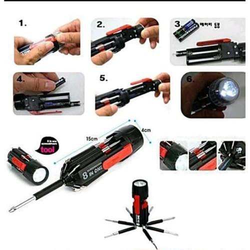 Foto Produk EDC Obeng set Travel 8 in one 8in1 senter multifungsi screwdriver dari lbagstore