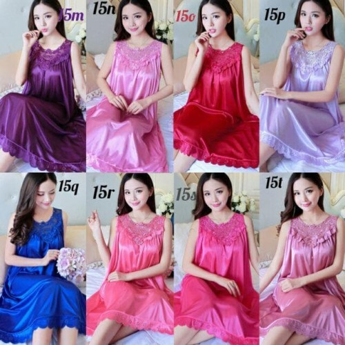 Foto Produk baju tidur daster JUMBO HAPPY generasi 2 piyama dress lingeri - Pink Soft dari wi-me777