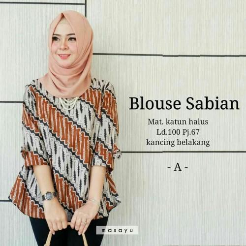 Foto Produk Atasan Baju Batik Kantor Wanita Sabrina/Seragam Blouse Batik kerja ... dari SF-COLECTION