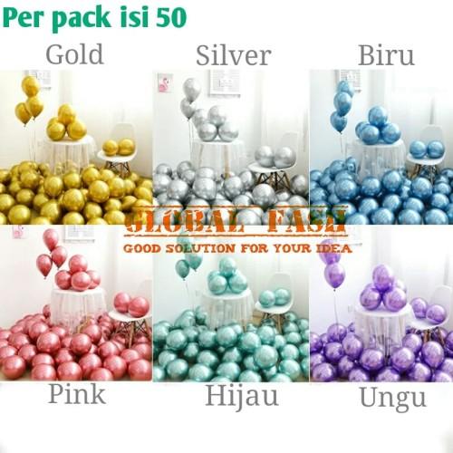 Foto Produk balon metalik Chrome per pack / balon chrome isi 50 / balon metalik dari Global Fash