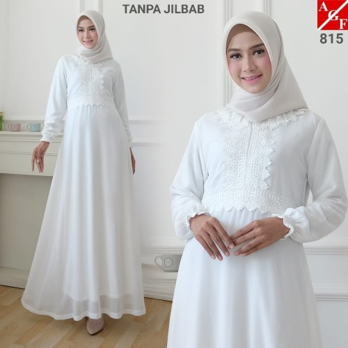 Foto Produk AGNES Baju Gamis Wanita / Gamis Brukat / Gamis Putih / Baju Muslim 815 - M dari Agnes Fashion88