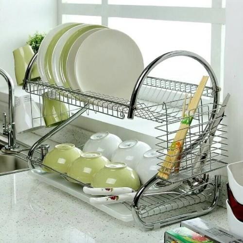 Foto Produk Rak Piring Dapur Stainless Steel Chrome 2 Susun Tingkat Dish Drainer dari Grosir Kitchenware