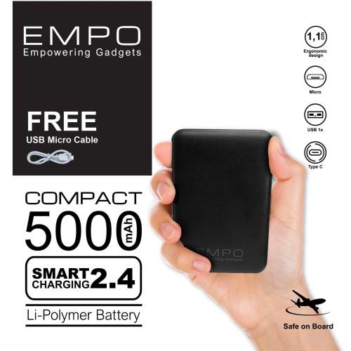 Foto Produk EMPO Compact PowerBank 5000 mAh Smart Charging - Black dari EMPO