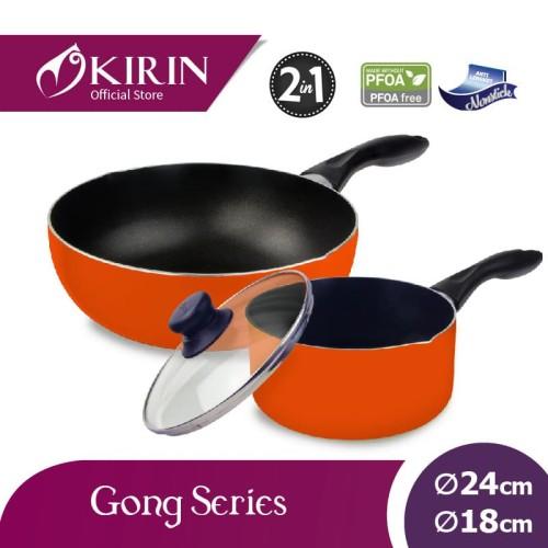 Foto Produk KIRIN GONG SET 2 IN 1 DEEP FRYPAN 24 CM + SAUCEPAN 18 CM - Orange dari Kirin