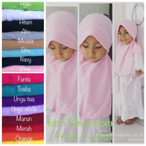 Foto Produk bergo kerudung jilbab anak bayi harian simpel kaos ecer - Putih dari busanamuslimah_co_id