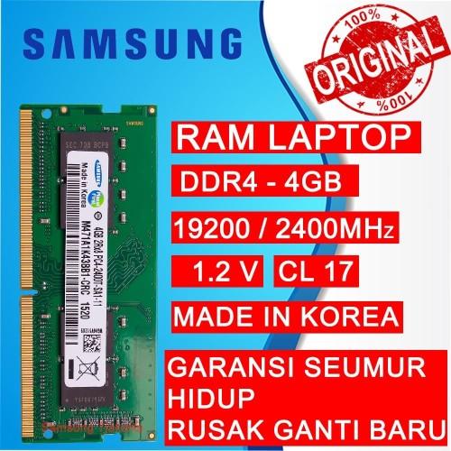 Foto Produk RAM NB DDR4 4GB PC 19200/2400 MHz SODIMM NB/LAPTOP SAMSUNG dari Samsung Tjakarta