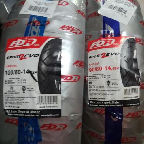 Foto Produk Paket Ban Tubeless FDR Zevo 90/80-14 dan 100/80-14 dari Sumber Jaya Motor