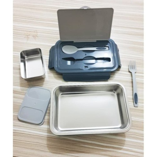 Foto Produk [ABU] Kotak Makan Dubblin Insulated Lunch Box Steel Inside BPA Free dari oneone