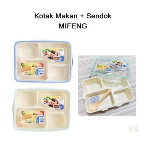 Foto Produk Kotak Makan   Sendok MIFENG / Lunch Box Catering Sekat 4 Zig Zag Food dari oneone