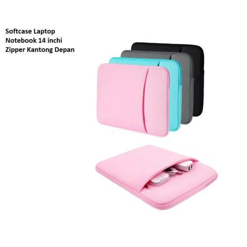 Foto Produk SCL04 Softcase Laptop Notebook 14 inchi Zipper Kantong Depan - black dari EnnWen Online Store
