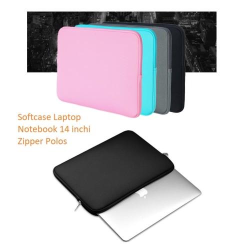 Foto Produk SCL02 Softcase Laptop Notebook 14 inchi Zipper Polos - blue dari EnnWen Online Store