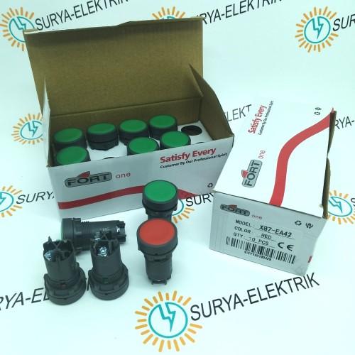 Foto Produk Push Button Tombol Panel ON OFF FORT 22mm XB7-EA1 XB7-EA2 Merah Hijau dari SURYA-ELEKTRIK