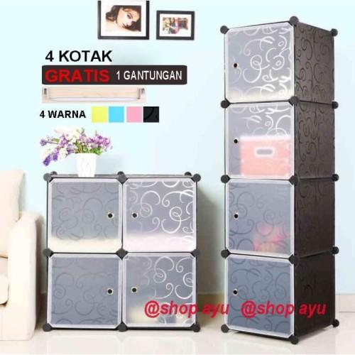 Foto Produk Lemari pakaian lemari plastik rak serbaguna susun lemari baju 4 pintu - pink HK dari SHOP AYU