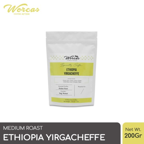 Foto Produk WORCAS Arabica Ethiopia Yirgacheffe 200gr - Medium Roasted Coffee - KOPI BIJI dari WORCAS COFFEE