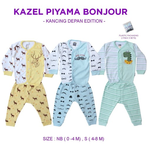 Foto Produk Kazel Piyama Kancing Boy Bonjour Edition - M 8-12m dari Kazel Babywear