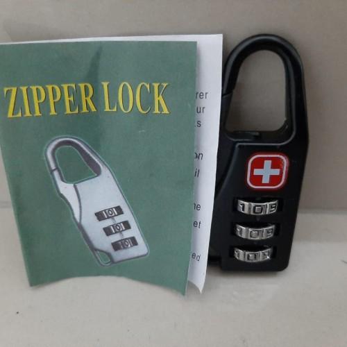 Foto Produk Gembok Kunci Koper Gembok Swiss Army Gear Zipper Lock Keychain dari jaminmurah899