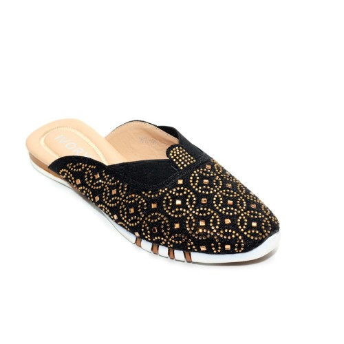 Foto Produk Sepatu Sandal Flat Fashion Ivory 1619-467 Hitam dari Dinasti Shoes