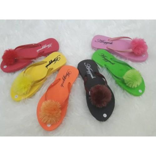 Foto Produk MURAH Sendal Jepit Pom Pom polos dan polkadot dari Dinasti Shoes