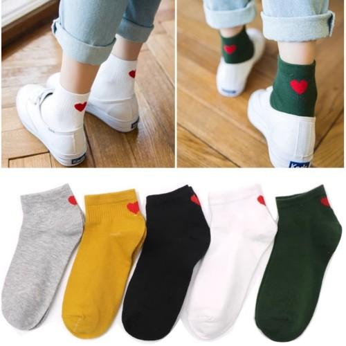 Foto Produk KK016 Kaos Kaki Pendek Red Love Wanita Low Socks dari EnnWen Online Store