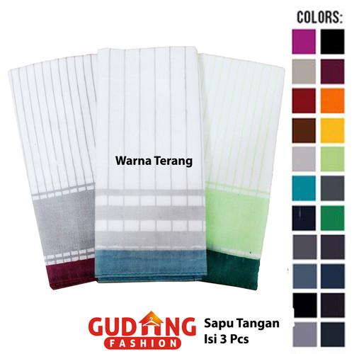 Foto Produk Sapu Tangan Pria Isi Tiga Katun Multi Colour SPT 101 - Warna Terang dari Gudang Fashion