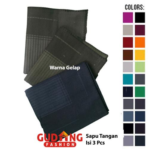 Foto Produk Sapu Tangan Pria Isi Tiga Katun Multi Colour SPT 101 - Warna Gelap dari Gudang Fashion