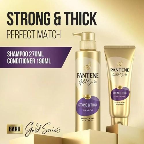 Foto Produk Pantene Shampoo Pro V Gold Series Strong & Thick 270ml & Conditioner dari Rivela Store