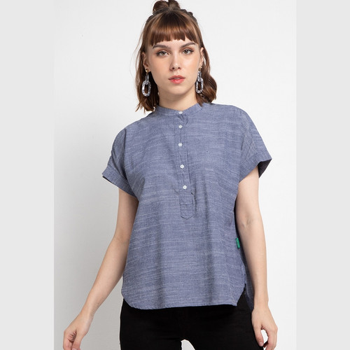 Foto Produk POINT ONE - STEFANI Chambray Blouse - Biru, L dari POINT ONE